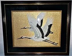 額文化刺繍 鶴
